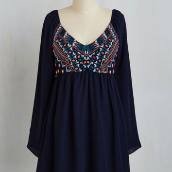 Boho Mid-length Long Sleeve A-line Imaginative Spirit Dress