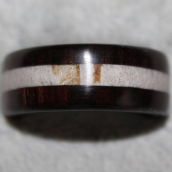 Wood Ring, Antler Ring, Whitetail Deer Antler with African Blackwood Border