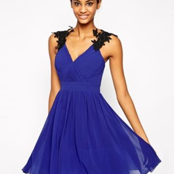 Little Mistress Wrap Front Prom Dress with Floral Embellished Shoulder