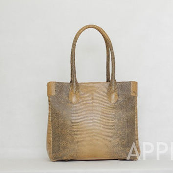 Catkin Genuine Exotic Lizard Handbag in Beige Colour