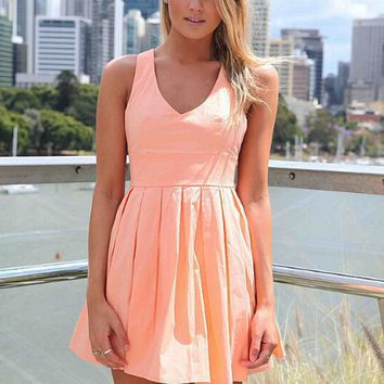 Bowknot Back Flare Pleated  Dress