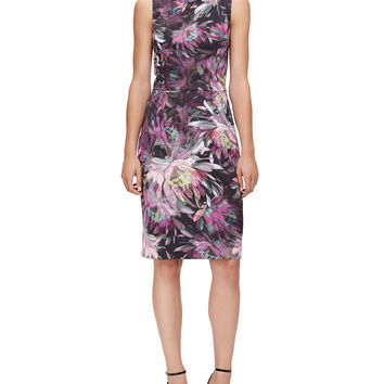 Sleeveless Floral-Print Sheath Dress, Size: