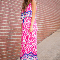 Hot Air Balloon Ride Maxi Dress, Pink