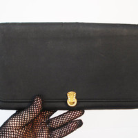 Vintage Black Clutch, Mid Century Black Evening Bag, Formal Clutch, Black Fabric Clutch With Art Deco Style Clasp, Cocktail Purse
