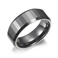 NEW High Polish Ceramic Mens Ring Black Wedding Band 8mm Men Jewelry - US SELLER