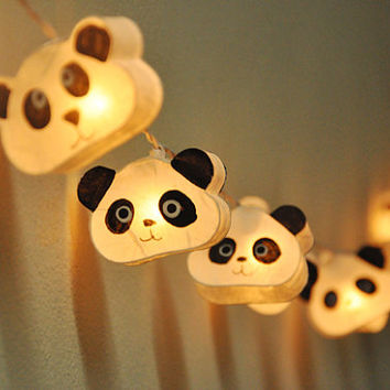 Cutie Panda mulberry paper Lanterns for wedding party decoration (20 bulbs)