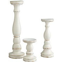 Product Details - White Wash Wooden Candleholders