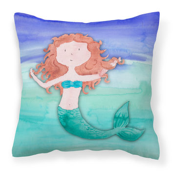 Ginger Mermaid Watercolor Fabric Decorative Pillow BB7421PW1414