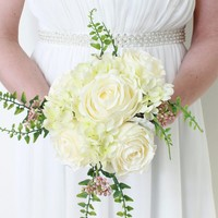 "Peony and Hydrangea Silk Wedding Bouquet in White Green - 11"" Tall"