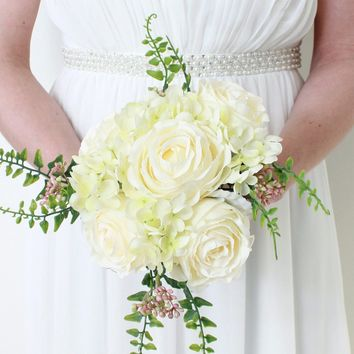 "Peony and Hydrangea Silk Wedding Bouquet in White and Green11"" Tall"