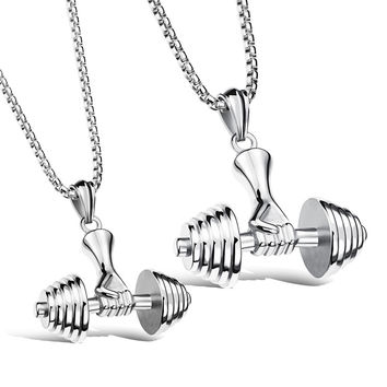 Popular Europe Gym Necklace Stainless Steel Pendants for Men & Women Titanium Steel Jewelry Chain Silver/Black/Golden Gift Bag