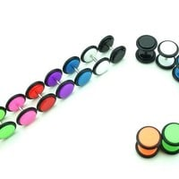 8 Pairs - Solid Colors - Acrylic Fake Plugs - Cheaters - 0G Gauge - 8mm
