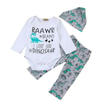 I Love Dinosaurs Bodysuit, Pants & Hat Set