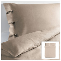 LINBLOMMA Duvet cover and pillowcase(s) - natural, Full/Queen  - IKEA