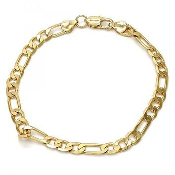 Gold Tone Basic Bracelet, Figaro Design, Gold Tone