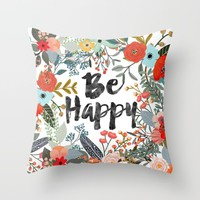 BE HAPPY SURROUNDED WITH FLOWERS AND PLANTS Throw Pillow by Mia Charro