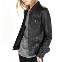 Black Faux Leather Buttoned Jacket