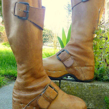 70s Roadster Tall Custom Leather Buckle Platform Clog Boots, 9.5