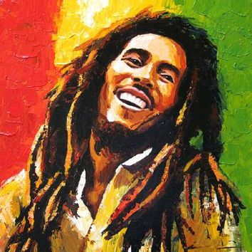 TOP ART oil painting- BOB MARLEY Reggae Jamaica ROCK Singer portrait OIL PAINTING -100% hand painted --Accept customize art
