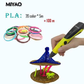 MIYAO Newest 3D scribble pen,with PLA filament(20color*5meter) , LED screen,Arts Pen Making Doodle Arts & Crafts
