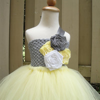 flower girl tutu dress in yellow,grey and white