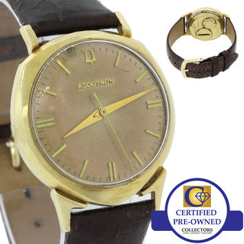 Vintage Bulova Accutron Solid 14k Yellow Gold Tuning Folk 32mm Watch C62009
