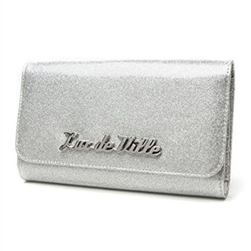 Miss Lux Wallet Silver Sparkle classic sleek retro