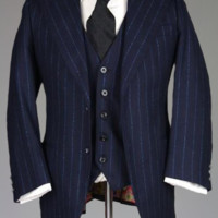 Vintage RARE Mod Custom Bespoke Navy & Metallic Blue Stripe 3 Piece Flannel Wool Suit 39 S Monkey Suit