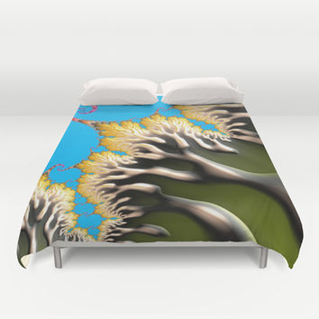 psychedelic green tree Duvet Cover by ACKelly