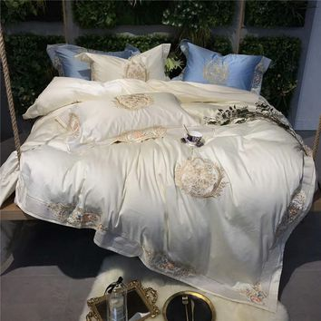Cool 4/6Pieces Cream White Queen King Luxury Royal Wedding Bedding sets 100S Egyptian cotton Duvet cover Bed sheet set PillowcaseAT_93_12