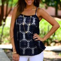 Sunflower Love Tank, Navy