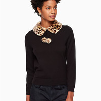 leopard-print collar sweater | Kate Spade New York
