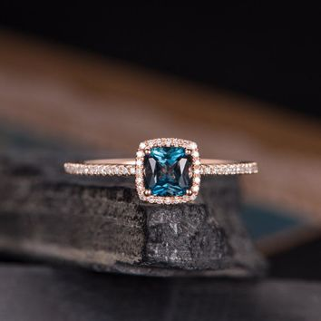 London Blue Topaz Engagement Ring Cushion Cut Halo Diamond Bridal Women Ring