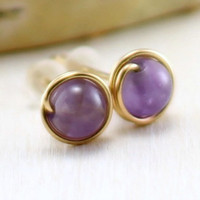 Amethyst Earrings, 14k Gold Filled Lavender Amethyst Stud Earrings Yellow Gold February Birthstone Wire Wrapped Post Studs