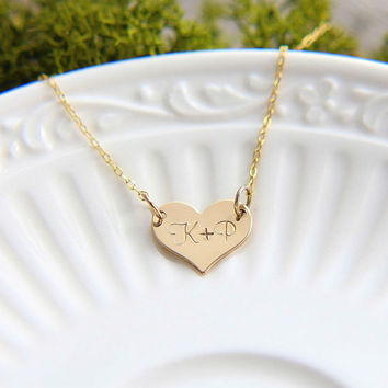 SALE Heart Necklace, Gold Heart Necklace, Initial Heart Necklace, Personalized Heart Necklace, Custom Necklace, Gold Heart Monogram Necklace