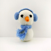 Nursery baby gift Snowman amigurumi Crochet doll Knit animals Handmade doll Stuffed animals Crochet toys Animal plush Soft doll NewYear