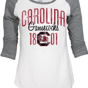 Official NCAA University of South Carolina Fighting Gamecocks USC COCKY SC Women's 3/4 Baseball Raglan T-Shirt