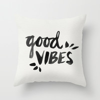 Good Vibes – Black Ink Throw Pillow by Cat Coquillette
