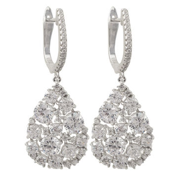 Sterling Silver White CZ Teardrop Lever Back Earrings