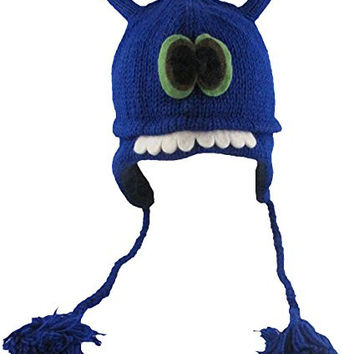 Delux Blue Frazzle Wool Pilot Cap/Hat with Ear Flaps and Poms