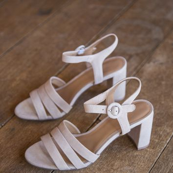 Ryden Kid Suede Strap Heels, Nude | Chinese Laundry