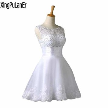 XingPuLanEr A Line Scoop Neck Sleeveless Pearls Top Lace Short Prom Dresses vestido de festa