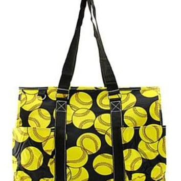 Utility Tote Multi-Pocket - Softball Print