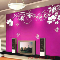 wall decal kids decal wall Stickers floral decal butterfly decal  girl graphic mural wall decor wall art -flower with butterfly
