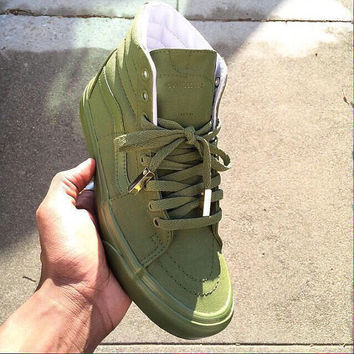 Olive Green Hi Top Vans with Gold lace tips