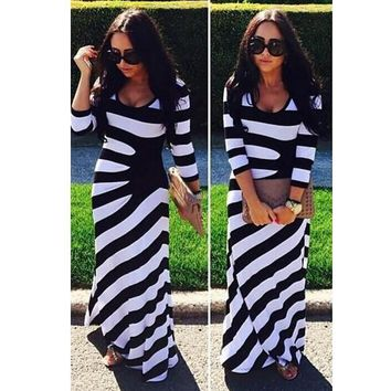 2018 Autumn Europe and United States 3/4 sleeved black white striped party dresses women robe package big buttocks maxi dress