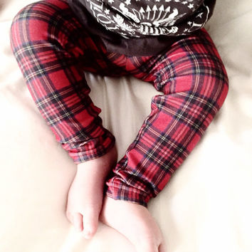 Red Plaid Baby Leggings, Hipster Baby Leggings, Unisex Baby Pants, Plaid Leggings  - Punk Plaid Leggings