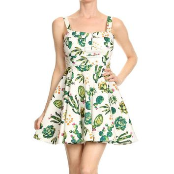 Cactus Print Tie Back Dress