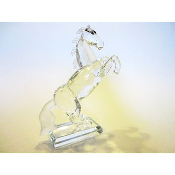 Swarovski Horse Sculpture Equestrian Black Eyes Roaring Stallion