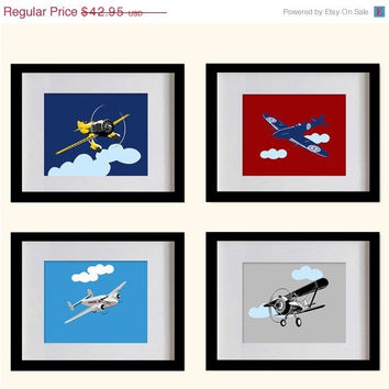 ON SALE Airplanes Art Prints - Boys Room Wall Decor - Set of 4 - 8X10 - Vintage Airplanes - Navy Blue, Red, Sky Blue & Gray - No. P026-01-S